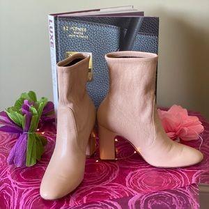 Stuart Weitzman Nude Stretch Leather Booties